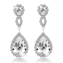 Miraculous Garden Womens Drop Pierced Infinity Earrings Teardrop Dangle Rhinestone Crystal for Wedding Prom Party Silver Rose Gold Plated