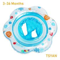 TSYAN Inflatable Baby Swimming Pool Float Ring with Safely Seat Double Airbag Swim Bath Water Toys Beach for Swim Training Kids Toddler Boys Girls Baby (Blue)