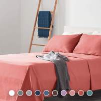 SLEEP ZONE Bed Sheet Sets Cozy Brushed Microfiber Soft Wrinkle Free Fade Resistant with 16 inch Deep Pocket Easy Care Sheets 4 PC, Coral, King