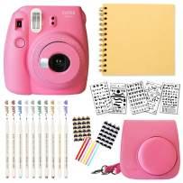 Fujifilm Instax Mini 9 Instant Camera (Flamingo Pink) + Bundle with Fuji INSTAX Groovy Camera Case + DIY Scrapbook Photo Album + Scrapbook Supplies + Stencils + Metallic Markers