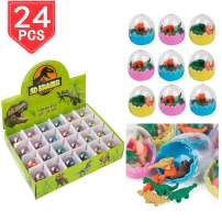 PROLOSO 24 Pcs Dinosaur Erasers Mini Easter Eggs Animal Pencil Erasers Toys for Kids