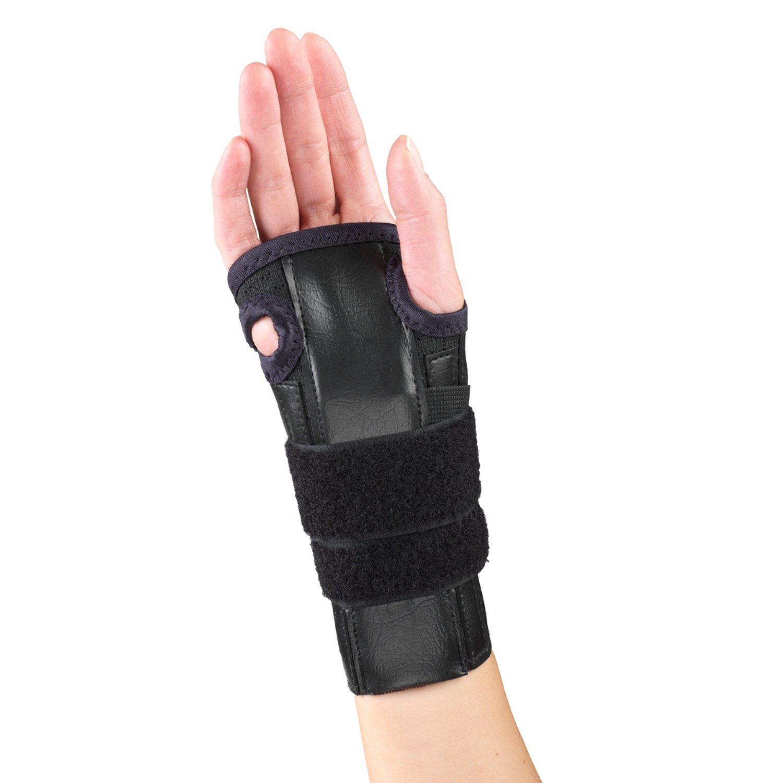 OTC Reversible Wrist Splint Cock-Up Adjustable Support Elastic Glove, Black, Small