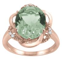 MauliJewels Green Amethyst and Diamond Flower Ring in 10K Rose Gold