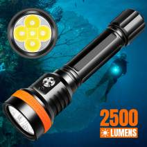ORCATORCH D850 Dive Light, 5 CREE LED 2500 Lumens Super Bright Underwater Light, 6 Degrees Narrow Beam, with 2 26650 Rechargeable Batteries, Battery Indicator, for Divers Under Water Sports