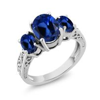 Gem Stone King 925 Sterling Silver Blue Created Sapphire 3-Stone Women Ring (3.51 Ct Oval, Available 5,6,7,8,9)