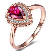 Elegant Gemstone Pink Tourmaline Wedding For Women Solid 14K Rose Gold Diamond Band Ring Set