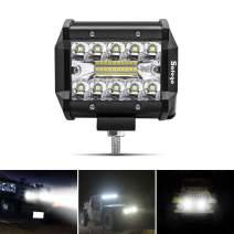 LED Pods Light Bar SAFEGO 4inch 60W 6000Lm Spot Beam Driving Fog Off Road Lights Triple Row Waterproof LED Work Lights for Trunk Jeep ATV UTV SUV Boat 12V/24V