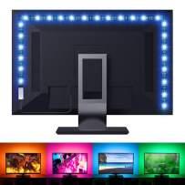Novostella RGB White LED TV Backlight Kit, 6.56ft USB LED Strip Lights RF Remote, 3M Adhesive, Color Changing 5050 LEDs Bias Lighting for 40-60 inch 4K HDTV PC Home Movie Theater, 6000K Daylight White