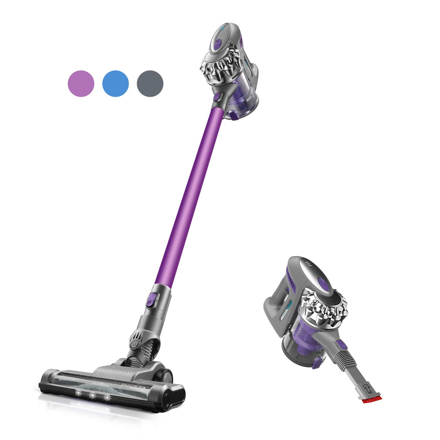 Puweike Cordless Stick Vacuum Cleaner - Hardwood Floors, Carpets and Pet Hair, Wireless Vacuum Cleaner 12Kpa Powerful Suction with Rechargeable Battery, 2 in 1 Design, P80 (Purple)
