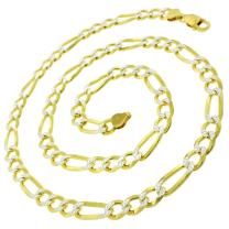 925 Italian Sterling Silver 3mm - 10.5mm Solid Figaro Diamond Cut Chain, FREE Microfiber Cloth, ITProLux Yellow Gold Plated Pave Link Necklace & Bracelet, Giorgio Bergamo