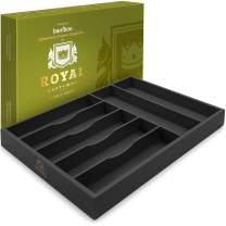 Bamboo Kitchen Drawer Organizer - Silverware Organizer/Utensil Holder and Cutlery Tray (Black)