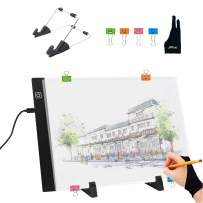 A4S Light Pad Diamond Painting Light Board Tracing Table Light Box Memory Function Led Drawing Board Artcraft Tattoo Copy Quilting Xray Pad w/Clips Stand and Artist Glove