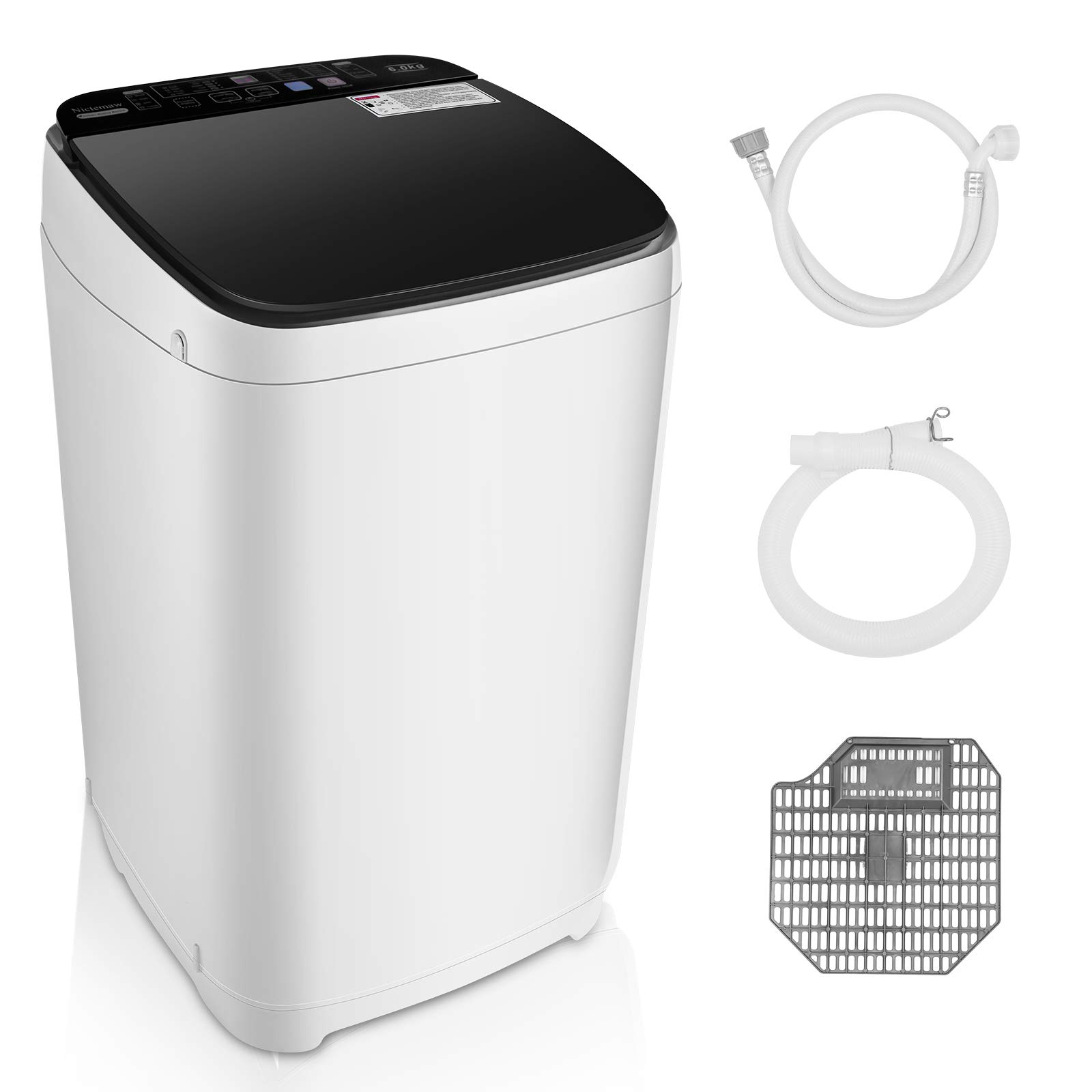 Full-Automatic Portable Washing Machine, 13.5lbs Compact Laundry Washer Machine with 10 programs & 8 Water Level Selections for Dorm, Apartments, RVs, Camping