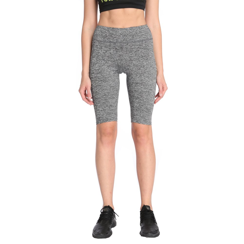 BLAU GRUN High Waist Inner Pocket Yoga Short Tummy Control Workout Running Athletic Non See Through Yoga Shorts