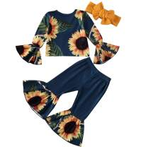 Toddler Kid Infant Girl Clothing Sunflower Outfit Off Shoudler Crop Tops+Flares Pants Bell Bottom Leggings+Headband