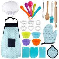 Vanmor Kids Basic Cooking and Baking Set, 26 Pcs Kids Chef Role Play for Little Boys and Girls Includes Apron, Chef Hat, Cookie Cutter, Silicone Baking Cups for 3 Year Old Little Kids Gift