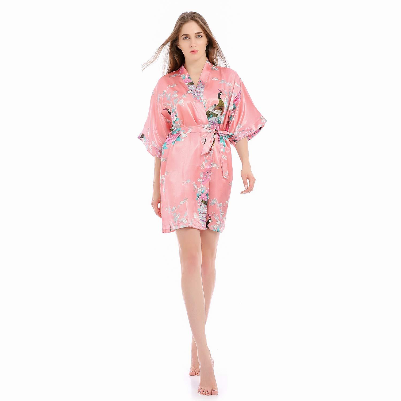 ELLENWELL Women Loungewear Silk Pajamas for Women Nightwear Satin Kimono Robe