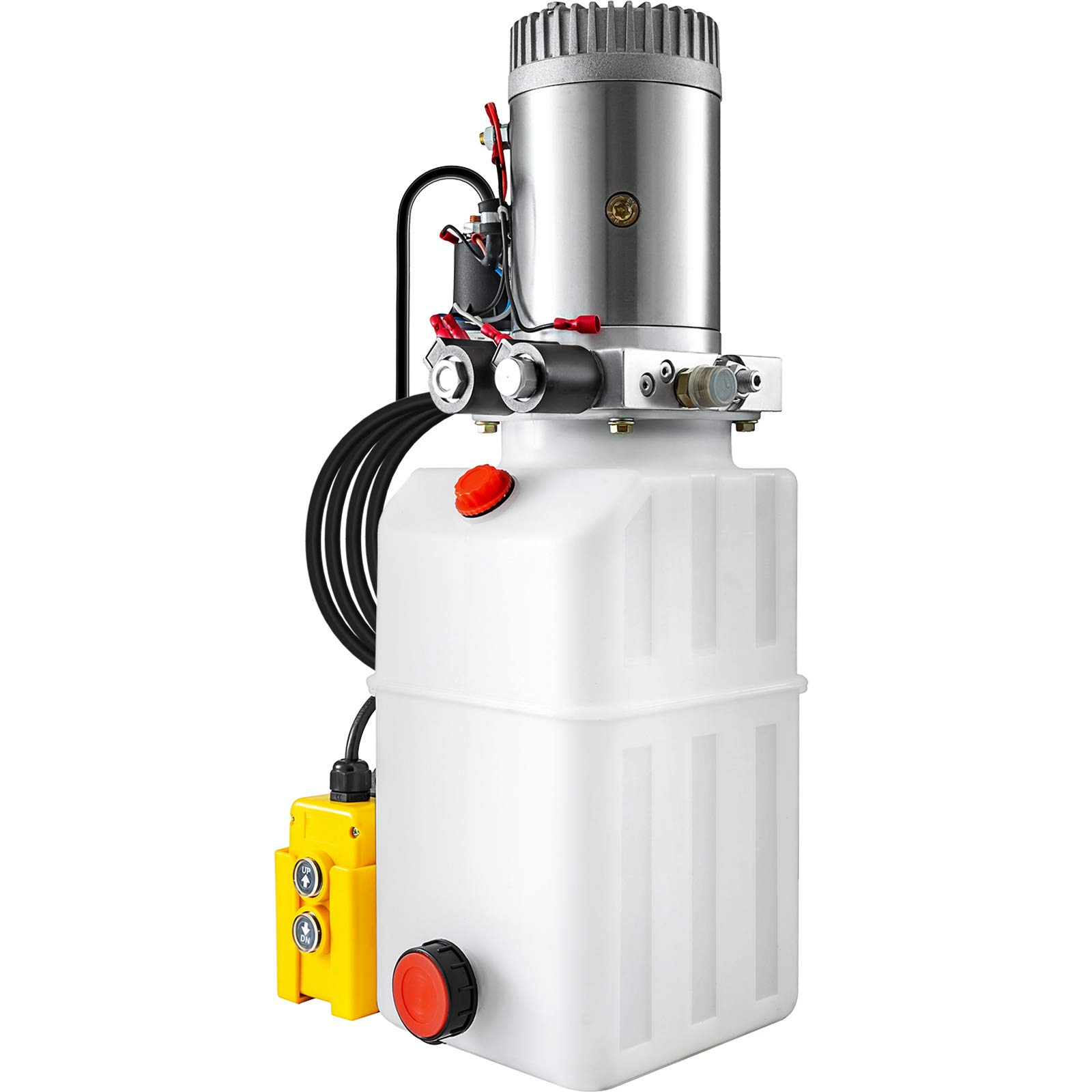 Bestauto Hydraulic Pump 12V Hydraulic Motor Hydraulic Power Unit, Dump Trailer Hydraulic Pump 6 Quart Double Acting Hydraulic Pump Dump Trailer Control Kit Lift Unit Pack