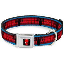 "Buckle-Down Seatbelt Buckle Dog Collar - Spider-Man Costume Stripe Blue/Red/Black - 1"" Wide - Fits 11-17"" Neck - Medium"