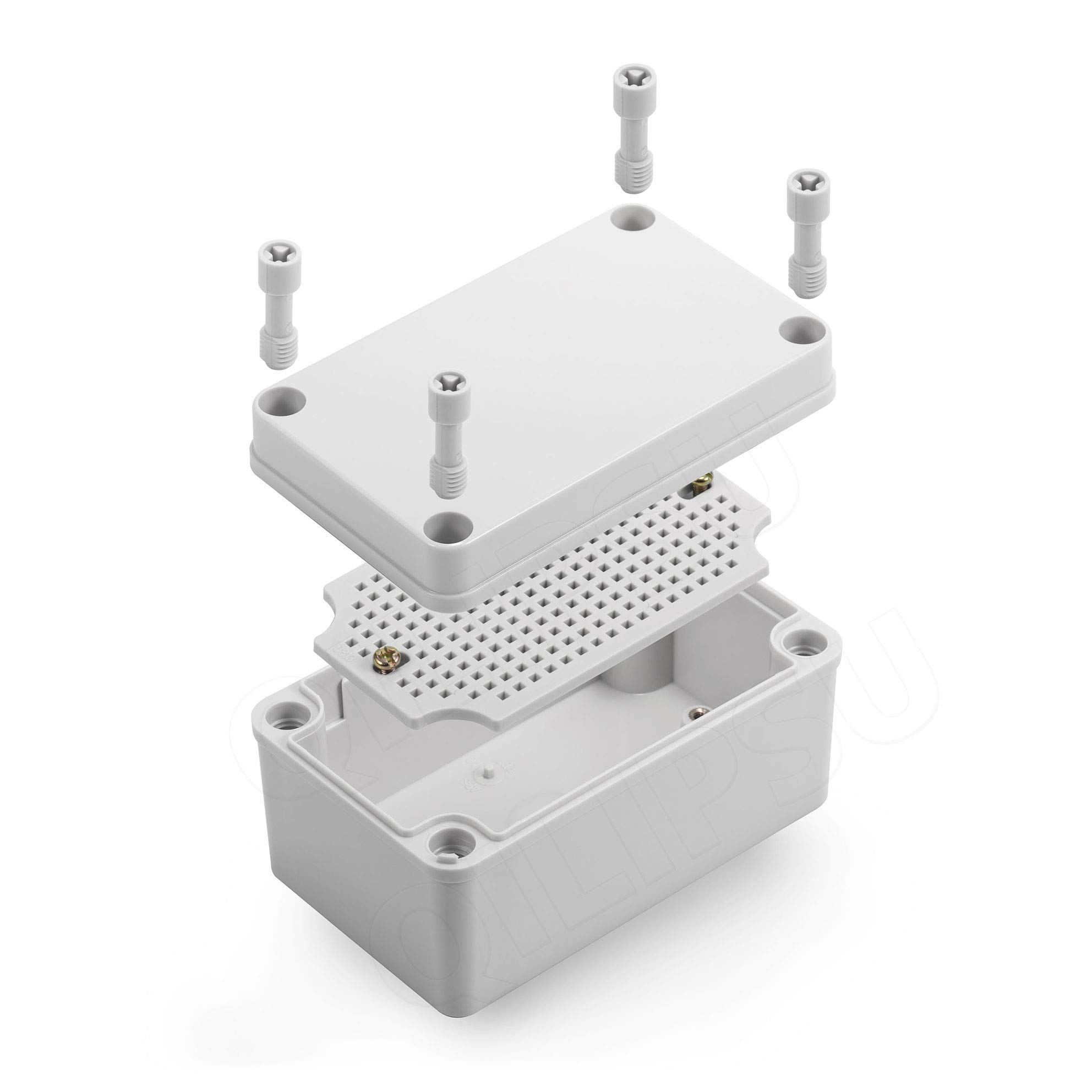 "QILIPSU Junction Box With Mounting Plate 130x80x70mm, ABS Plastic DIY Electrical Project Case IP67 Waterproof Dustproof Enclosure Grey (5.1""x3.1""x2.8"")"