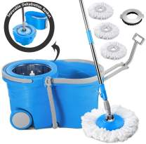 360 Spin Mop and Bucket System with 3 Mop Pads Refills and a Cleaning Brush Telescopic Handle Magic Spinning Mop with Wringers Set on Wheels