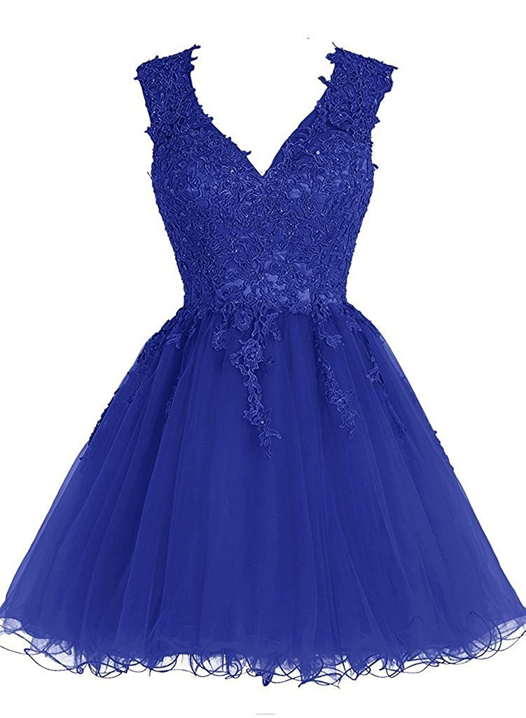 Homecoming Dress Short Cocktail Dress Lace Homecoming Dresses Tulle Appliques Prom Dress V Neck Royal Blue