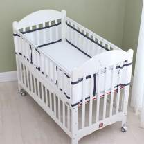 4-Sided Baby Breathable Crib Bumper,Airflow Safe 3D Mesh Crib Liner,Free from Entanglement Risk Design Grey