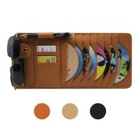 CD Sun Visor Organizer for Car Detachable Portable Multi-Function PU Lambskin with 10 CD Slots + 4 Credit Cards Pockets + 1 Sunglasses Holder + 1 Pen Holder (Brown)
