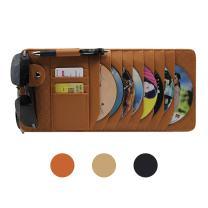 CD Sun Visor Organizer for Car Detachable Portable Multi-Function PU Lambskin with 10 CD Slots + 4 Credit Cards Pockets + 1 Sunglasses Holder + 1 Pen Holder (Brown)