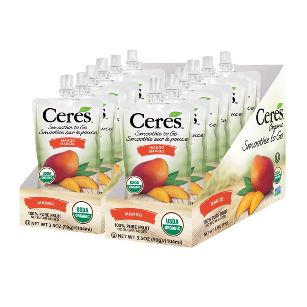 Ceres Organic Smoothies To Go Pouches   100% Organic Fruit Smoothie Squeeze Packs   No Added Sugar, Non GMO, Gluten Free   100% Pure Fruit Mango Flavor, 3.5 OZ (Pack of 12)