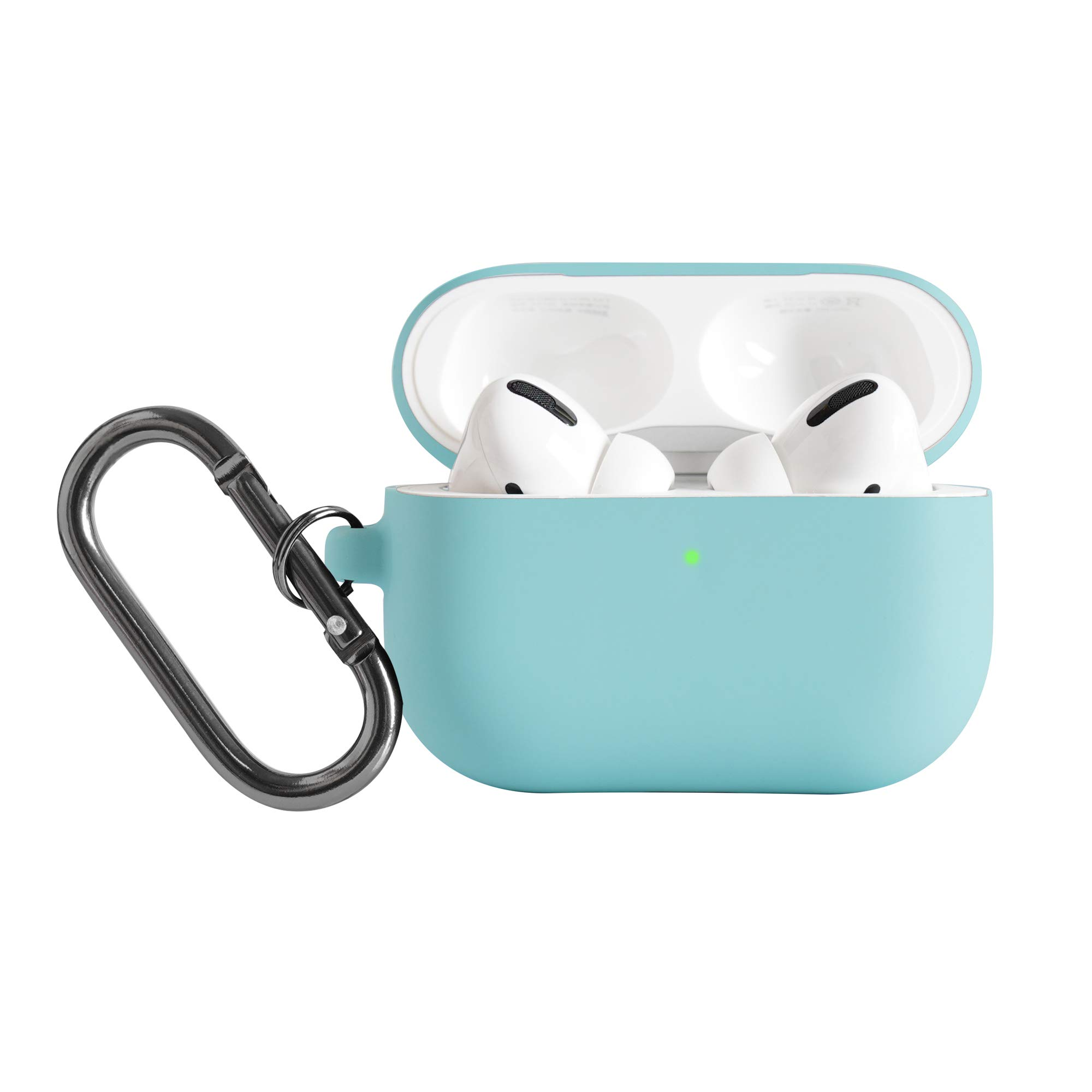 DamonLight Airpods Pro Case Cover with Carabiner Keychain Compatible with Air pods Pro「Front LED Visible」Protective Silicone Airpods Pro Case(Ice Blue)