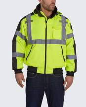 Utility Pro High Visibility Reflective Safety Bomber Jacket with Removable Fleece Liner With Waterproof Teflon Protection, UHV575, Lime, Large, Yellow
