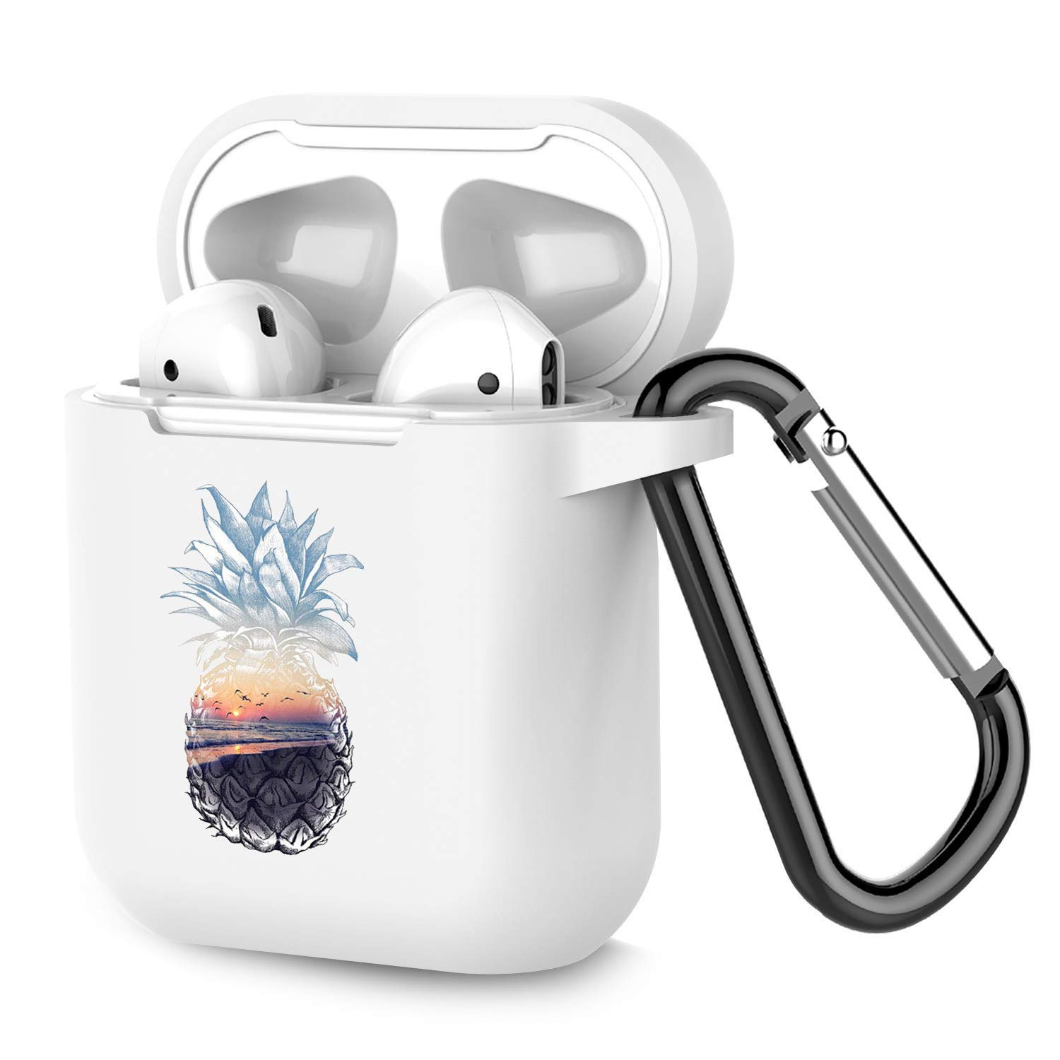 Airpods Case Personalized White TPU Soft Rubber Accessories Full Protective Shockproof Case for AirPods 2 & 1 Beach Pineapple