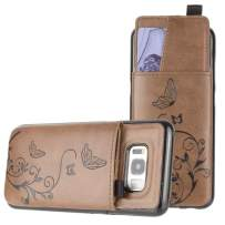 Galaxy S8 Wallet Case, Slim PU Leather with Matching Detachable Slide Out Card Slot Organizer [Butterfly Pull Out - Brown]