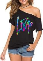 MAGICMK Women's Casual Strapless Short Sleeve Sexy Love Print Off Shoulder T-Shirt Top