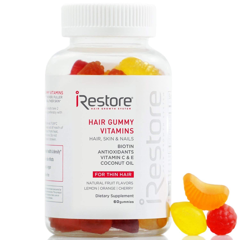 iRestore Vitamins Hair Gummies - Vegan Biotin Gummies for Hair Growth, Hair Skin and Nails Gummies Supplement with Vitamin C & E, Coconut Oil, Turmeric - Sugar Bear Hair Vitamins Gummy For Men & Women