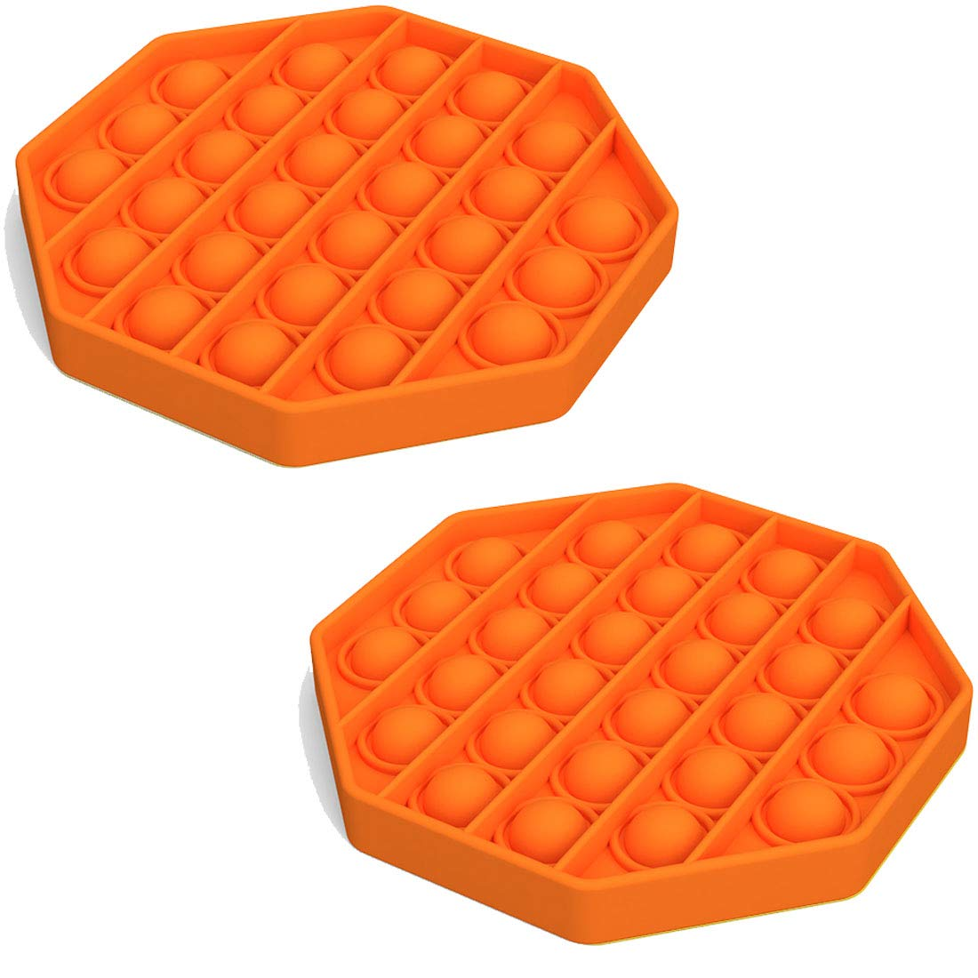 2 Pack Push Pop Pop Bubble Fidget Toy - Stress Reliever Extrusion Push Bubble Press Sensory Toy for Autism, OCD, Special Needs, Anxiety Help Restore Emotions (Octagon Orange)