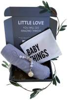 Baby Gifts for Newborn Boys & Girls| Swaddle Receiving Blanket & Pacifier Clip (Blue)