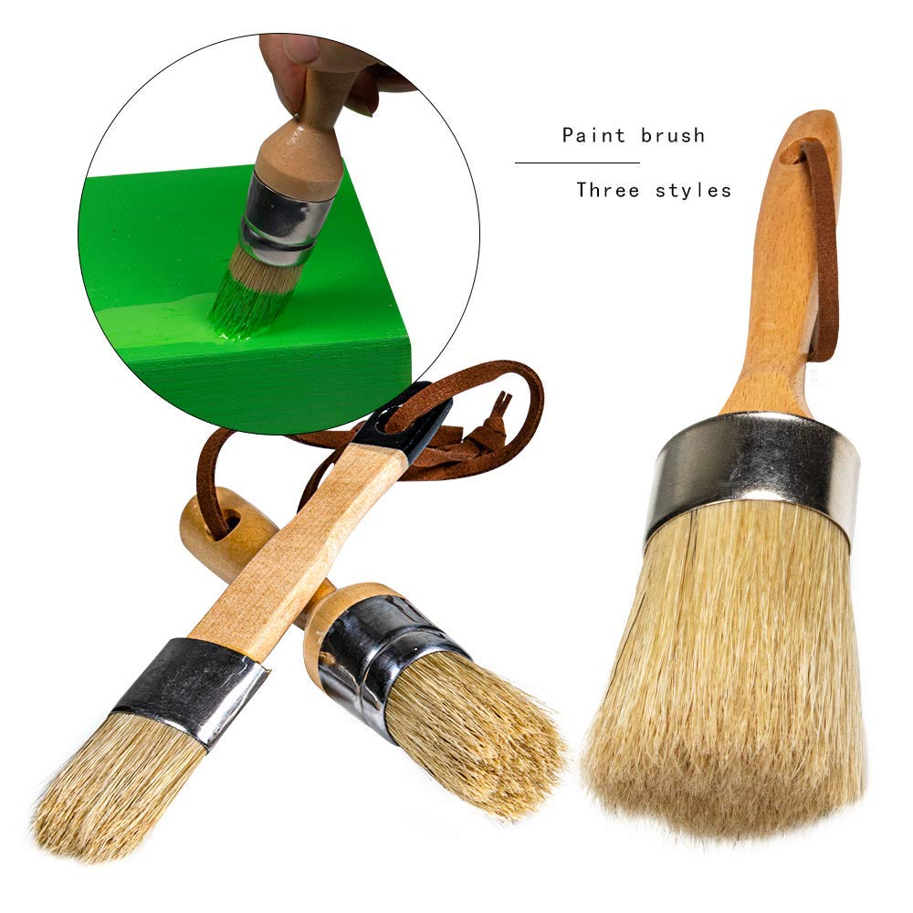 Chalk Paint Brush Stencils Brush Set - 3PC Large DIY Painting Tool for Furniture, Waxing Brushes, Natural Bristles Folk Art, Home Decor, Wood Projects, Reusable