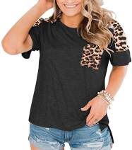 Womens Plus Size Leopard Print Raglan Short Sleeve Tops Patchwork Casual Loose Pocket T Shirts