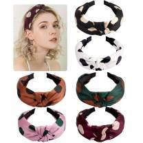Jaciya 6 Pieces Knotted Headbands for Women Turban Headbands for Women Wide Headbands for Women Knot Headband 6 Colors