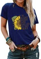 Cicy Bell Women's Sunflower Graphic T Shirts I'm Blunt Because God Rolled Me That Way Summer Short Sleeve Cotton Tees Tops