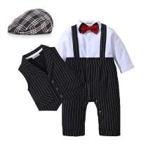 HOSUKKO Baby Boy Suit,Long Sleeve Jumpsuit,Vest,Bow Tie,Infant Boy Gentleman Outfits Sets for Formal Occassion (0-24 Months)