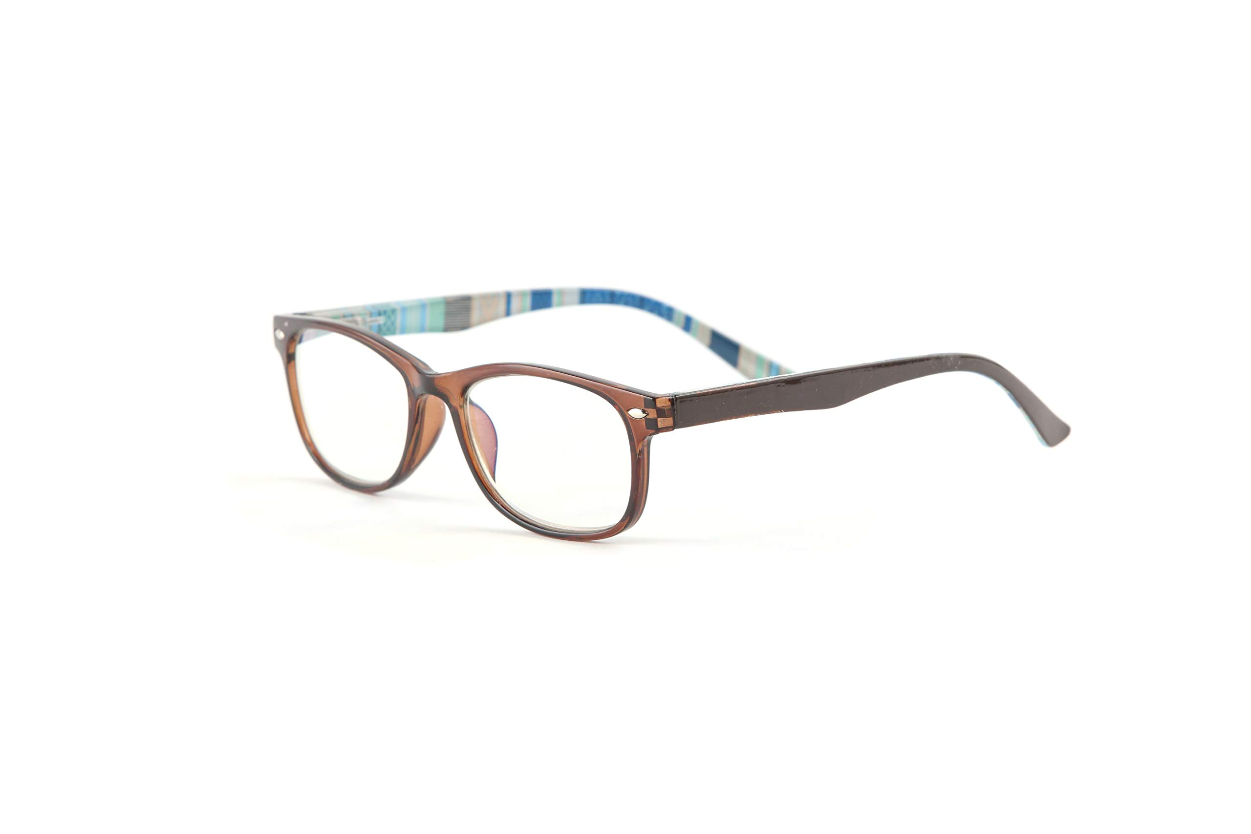 Readerest Blue Light Blocking Reading Glasses, UV Protection and Anti-Reflective Lenses, Spring Hinge Computer Reading Glasses, Multi-Style (Brown/Blue, 1.25)