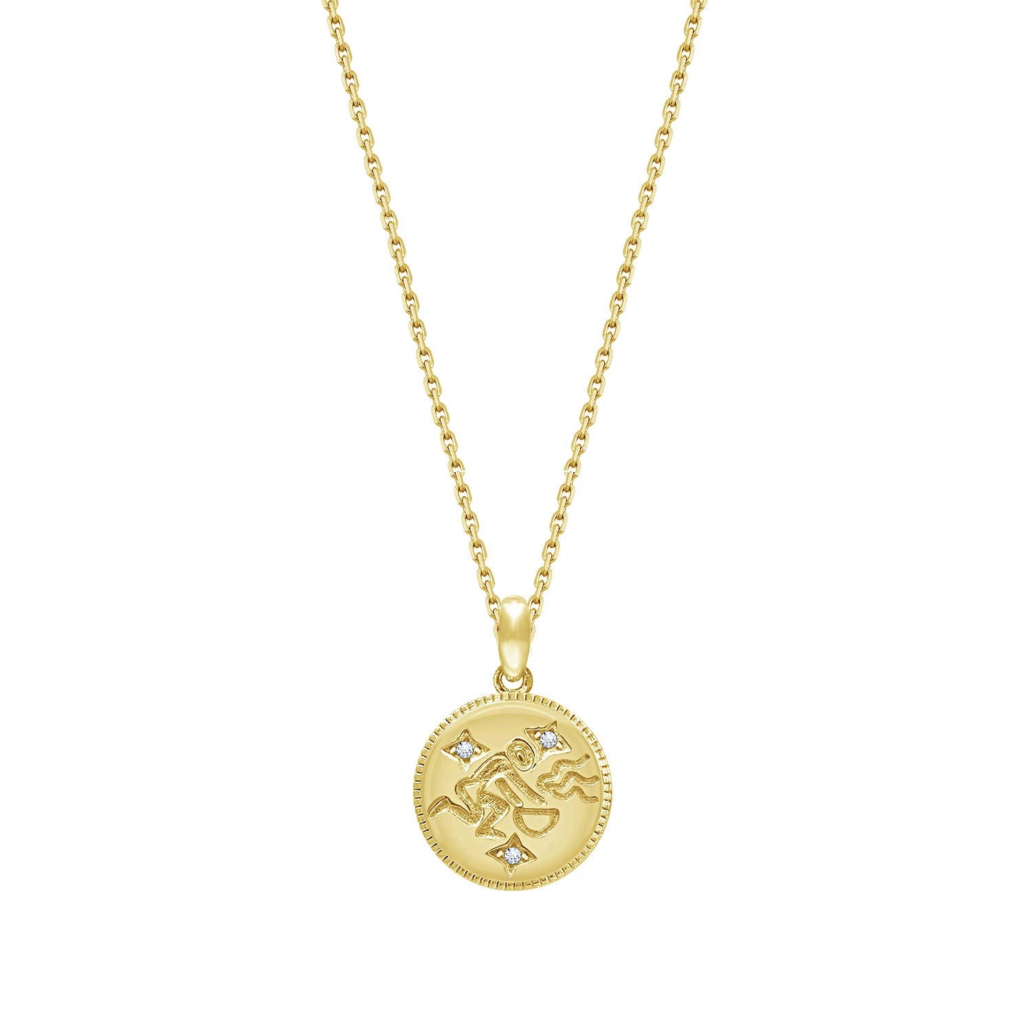 "J'ADMIRE 14K Yellow Gold Plated Sterling Silver Swarovski Zirconia Zodiac Stars Pendant Necklace (16"" + 2"" extender)"