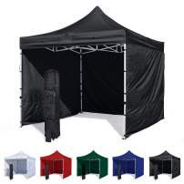 Vispronet 10x10 Canopy Tent and 3 Sidewalls – Economy Edition – Durable Steel Frame, Water-Resistant Canopy Top and Side Wall – Bonus Wheeled Canopy Bag and Premium Stake Kit (Black)