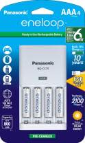 Panasonic K-KJ75M3A4BA Advanced Individual Battery Charger With USB Charging Port 4AAA eneloop 2100 Cycle Rechargeable Batteries