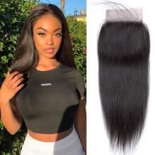 """QTHAIR 12a Grade Straight Human Hair Lace Closure 18"""" 130% Density Unprocessed Straight Human Hair Lace Closure"""