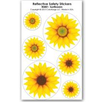 COOLHUBCAPS Sunflower Reflective Decals - for Helmets, Bikes, Wheelchairs, Car Bumpers & Windows - Weatherproof & UV Resistant - Indoor & Outdoor Use - Small, Medium, Large (6 Decals)