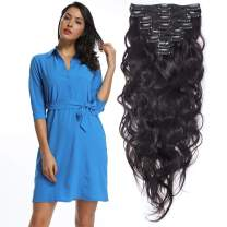 """S-noilite 20"""" Thicken Clip in Hair Double Weft 100% Real Human Hair Made 160grams Long Wavy Clip in Human Hair Extensions Natural Black 8pcs per pack for Full Head #1B"""